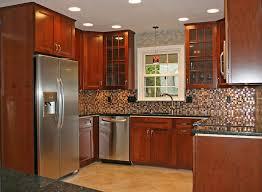 exciting sectional tile backsplash wooden cabinets kitchen remodel