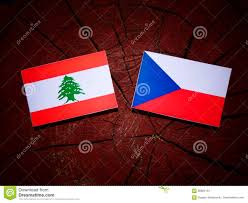 Lebanon Flag Tree Lebanese Flag With Czech Flag On A Tree Stump Stock Image Image