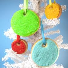 sparkly christmas ornament cookies simply decorated with sprinkles