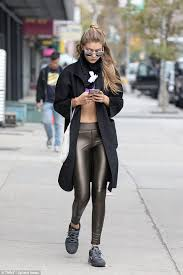 Sandy Grease Halloween Costume Gigi Hadid Wears Shiny Leggings Sandy Grease Halloween