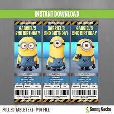 minion birthday party invites minions birthday ticket invitations lab set instant download