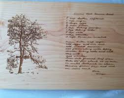 cutting board with recipe engraved grandmothers handwritten recipe cutting board recipe