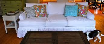 White Sofa Slip Cover by Pink U0026 Polka Dot U2013 White Sofa Slipcover Before And After