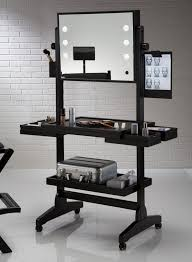 professional makeup lights furniture black lighted makeup table with mirror ans wheel placed