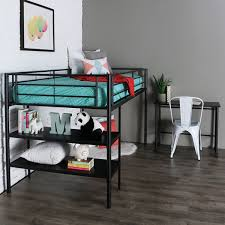 twin black metal low loft bed with desk u0026 shelves
