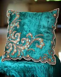Peacock Colour Cushions Turquoise Blue Velvet Decorative Cushion With Embroidery Pillows