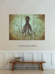 World Map Wall Decor Octopus Triptych Vintage World Map Canvas Octopus On Map