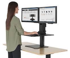 stand up desk converter dual monitor best home furniture decoration