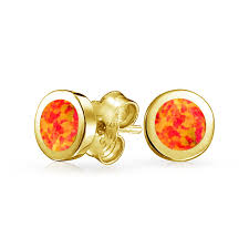 gold studs earrings 925 silver gold plated bezel orange opal stud earrings
