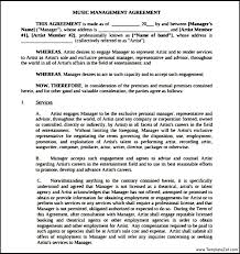 music management contract templatezet