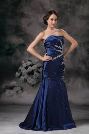blue lace up side applique mermaid evening dress