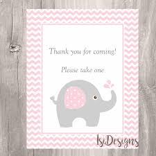 elephant baby shower sign pink elephant thank you for coming