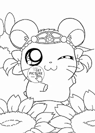 cute hamtaro coloring page for kids manga anime coloring pages