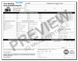 Tune Up Estimate by Hv 1021 Hvac Tune Up Work Order Checklist Value Printing Hvac