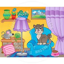 Cartoon Armchair Cartoon Room With Cat On Armchair By Clairev Toon Vectors Eps