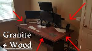 Wood Computer Desk Granite Inlaid Solid Wood Computer Gaming Desk Diy Project Youtube