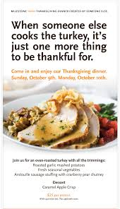 thanksgiving dinner menu from milestones vancouver bits and bites
