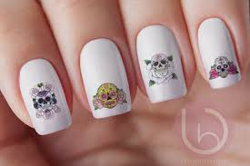 mexican sugar skull nail decal nail design nails press on nail