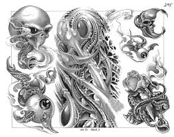 biomechanical alien tattoo designs photos pictures and sketches
