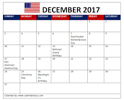 2017 december calendar with holidays in usa uk canada india