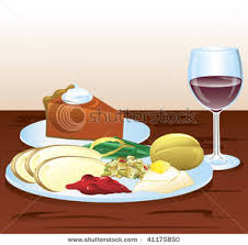 free clipart image a plate of thanksgiving dinner with a glass of
