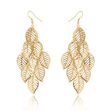 earrings for prom fashion jewelry gold clor tassel earring hollow out leaves