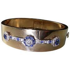 diamond bracelet cuff images Old european cut diamond sapphire diamond bracelet cuff bangle 14k jpg