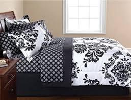 amazon com black u0026 white damask full comforter u0026 sheet set 8