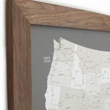 Push Pin Map Push Pin United States Map Walnut Frame Grey 100 Pins