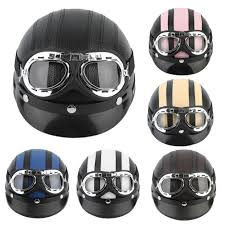 leather motorcycle helmet motorcycle scooter open face half synthetic leather helmet visor