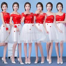 cheap red white short bridesmaid dresses one soulder lace up knee