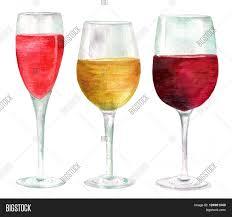 watercolor cocktail three watercolor wine glasses image u0026 photo bigstock