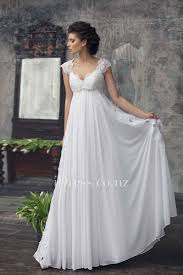 empire cap sleeve white lace and chiffon keyhole a line long