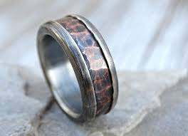 mens wedding band materials buy a crafted chunky mens wedding band mixed materials copper