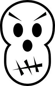 angry skull halloween black white line art scalable vector