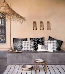 cxhill out estilo africano colonial cojines en blanco y negro de