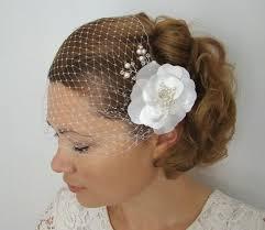birdcage veil with flowers 2 pieces set bridal veil flower