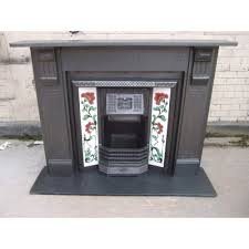 original edwardian victorian slate fire surround tiled insert