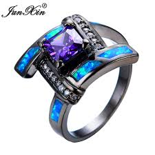 aliexpress promise rings images Junxin geometric design blue opal purple ring black gold filled jpg