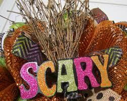 orange mesh halloween wreath witch broom wreath scary witch wre