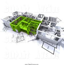 avenue clipart of 3d green and white house floor plans on