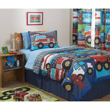 Fire Truck Nursery Decor by Mainstays Kids Heroes At Work Bed In A Bag Bedding Set Walmart Com