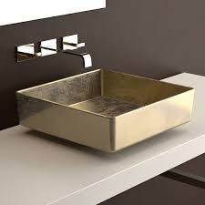 ws bath collections four lux vessel bathroom sink in gold leaf 3d