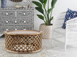 moroccan carved bamileke coffee table in natural zohi interiors