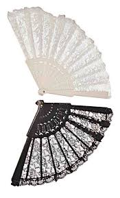 black lace fan lace fan black white or pink candy apple costumes