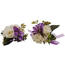 wrist corsages for prom 2pc set wrist corsage boutonniere white purple