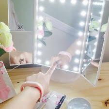 tri fold mirror with lights table top vanity mirror ebay