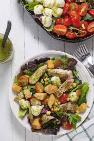 grilled chicken salad with pesto vinaigrette healthy delicious