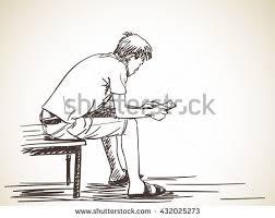 sketch man using smart phone sitting stock vector 432025273
