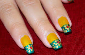 green and gold nail art golden flower nails on yellow green
